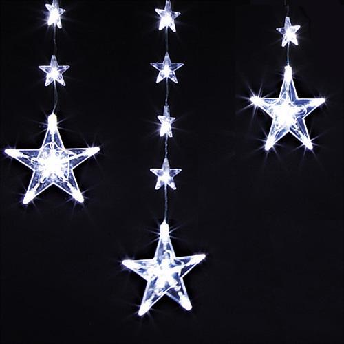 10p 130구 투명선 별 가랜드 LED 백색전구(가로: 3M/ 높이: 55cm,40cm) (전원잭포함) (연결가능)