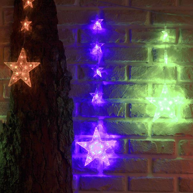 130구 투명선 LED 별가랜드 칼라전구(2.3M) (전원잭포함) (연결가능)
