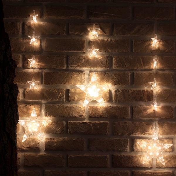 130구 투명선 LED 별가랜드 웜색전구(2.3M) (전원잭포함) (연결가능)