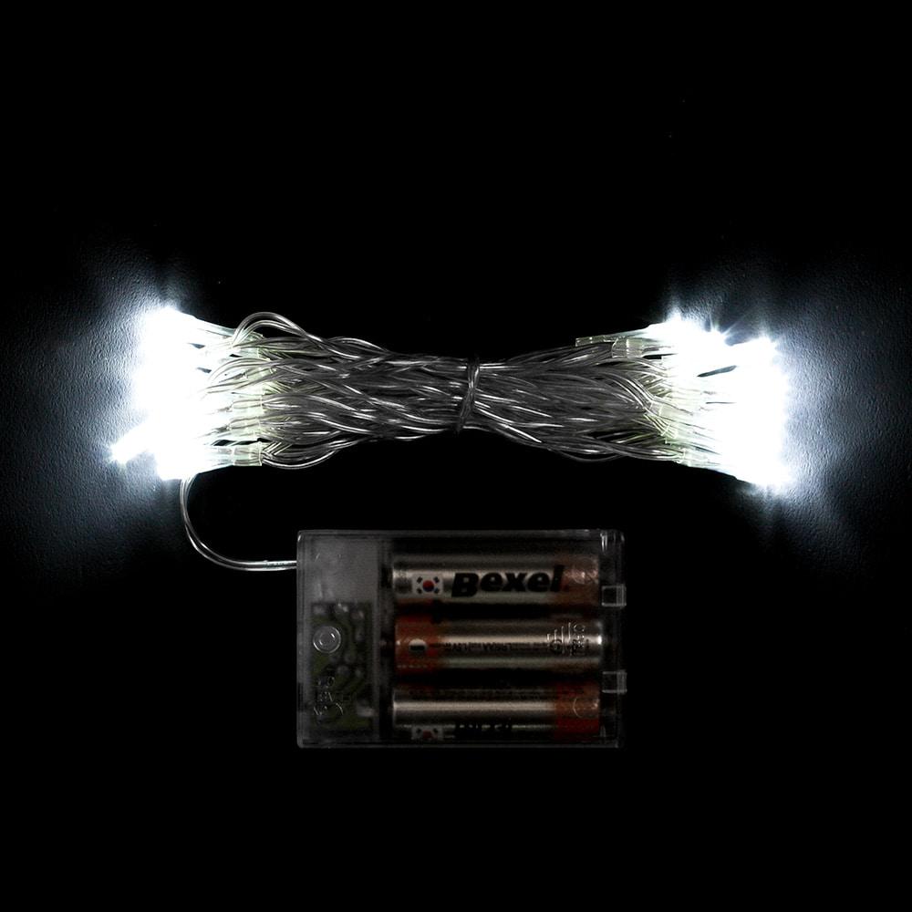 30구 투명선 피켓 LED 백색전구(3M) (배터리) (점멸有) (40cm∼60cm트리용)