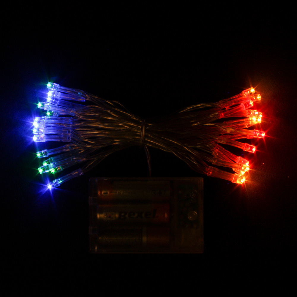 30구 투명선 피켓 LED 칼라전구(3M) (배터리) (점멸有) (40cm∼60cm트리용)